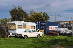 West Footscray (Westographer) Tags: westfootscray melbourne australia westernsuburbs suburbia caravan datsun covered parked yard shippingcontainer trailer