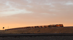 Pre Sunrise glow (GLC 392) Tags: bnsf 8916 h2 paint burlington northern 9584 bn santa fe golden pre dawn sunrise sun rise emd sd70mac railroad railway train coal emoty clouds sky morning life cheyenne wy wyoming