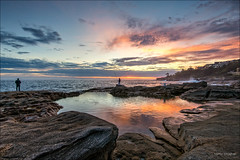 Nice way to begin a day (JustAddVignette) Tags: australia clouds dawn fisherman flamingsky hightide landscapes maroubra newsouthwales ocean reflections robwalkerrockpool rocks seascape seawater sky southeasternsuburbs sunrise sydney water