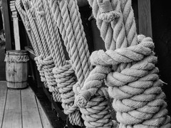 Getting To Know the Ropes (clarkcg photography) Tags: ropes knots sailor sails rigging ship pinta barrel deck neat tidy blackwhite bw thursdayblackandwhite 7dwf