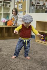 Ash Day 319 (evaxebra) Tags: ash baby walking school classroom class hat cap vest sweater luna