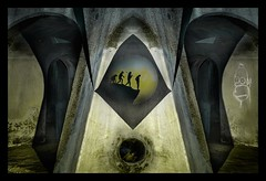 homer sapiens (pete ware) Tags: arches wallart geometricshapes stensils concrete folkestone uk seawallpromenade drainhole homersimpson evolution homosapiens peteware nikon nik photoshop circle man ape stoneageman rock
