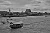View from Memorial Bridge over the Chao Phraya River (Thomas Mulchi) Tags: bangkok thailand 2017 thadindaengphotowalk bpg bangkokphotographersgroup photowalk chaophrayariver viewfrombridge monochrome bw boats temples krungthepmahanakhon th khlongsandistrict