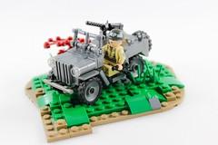 Willys Jeep (JJbricks) Tags: militarypolice brickarms grey dark jeep willys military allied wwii lego