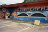 Eyes of Club Memphis (ADMurr) Tags: memphis club parking lot block mural eyes dab281 tn mask tarmac leica m6 kodak 200 bar grill orange blue african egyptian