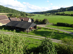 Farmbuildings and fields from Stokesay Castle (Dunnock_D) Tags: uk unitedkingdom britain england shropshire stokesay castle white clouds green grass trees fields apple apples tree appletree