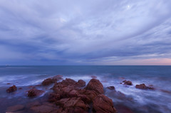 Ship passing in Blue Hour (Trace Connolly Photography) Tags: australia natur natura natural nature naturaleza naturephotography colour color colourful outdoor outdoors outside eos canon sunlight exposure flickr landscape seascape ocean beach sea seaside earth environment environmental environmentalphotography sand water rock rocks sunset sunrise contrast cove red green yellow blue black white scene scenery bay bluehour ship moon lunar scenic yorkepeninsula wallaroo southaustralia spencergulf gulf wave waves canon40d sigma sigma1020mm cloud clouds
