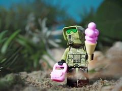 Star Wars 41st Elite Corps Trooper on Ibiza :-) (Legoliscious) Tags: starwars lucasfilm trooper thedarkside legography toy army pink pride ibiza icecream holiday beach toys lego legominifig minifig minifigures legos bleu green funny humor view clonetrooper snack candy