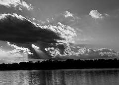 Moody sky (tokyobogue) Tags: tokyo japan arakawa nikon nikond7100 d7100 autumn colours blackandwhite blackwhite monochrome water sky clouds sunlight sunbeams
