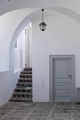 Steps, Door, Lamp, Arcs and Shades of Grey, Santorini Details 66 (John Hallam Images) Tags: steps door lamp arcs shades grey shadesofgrey santorini details greece greek islands