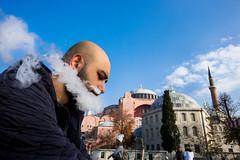 Santa (Tavepong Pratoomwong) Tags: streetphoto tavepong sky blue smoke santa istanbul turkey turkish hagia sophia juxtaposition pink rx0 sony face street funny