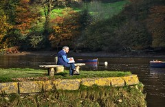 Peaceful solitude at Cotehele Quay, Cornwall (Baz Richardson) Tags: cornwall rivertamar cotehelequay artistsketching