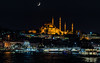 Approaching Eminonu... (Aleem Yousaf) Tags: boat city water reflections night building river sky moon bosphorus istanbul turkey travel photography nikon d800 yeni cami mosque eminonu