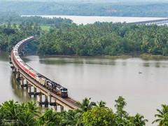 TVC- H.NZM Rajdhani express banks over Sharavathi river bridge. (mohammedali47) Tags: konkanrailway indianrailways trivandrumrajdhaniexpress alco locomotive karnataka sharavathi irfca