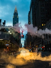 metropolitan geyser (lucafabbricesena) Tags: manhattan new york madison avenue chrysler building night smoke light street onevanderbilt metropolitan urban