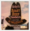 Arby's Neon (tobysx70) Tags: polaroid originals color 600 instant film slr680 frankenroid sx70 door rollers arby's neon sunset blvd boulevard hollywood los angeles la california ca cowboy hat sign illuminated classic roast beef sandwich is delicious drive blue sky clouds palm tree toby hancock photography
