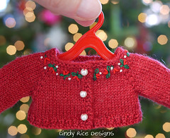 """Holiday Hugs"" made for Rose (Boneka/Effner) dolls. (Cindy Rice Designs) Tags: effner boneka christmas sweater cardigan knit embroidery santa hat doll dress"