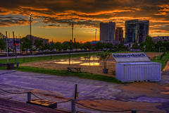 Baltimore's Rash Field sunrise (cmfgu) Tags: baltimore md maryland innerharbor sunrise morning clouds sky colorful dawn twilight rashfield beach volleyball puddle flooded skyline skyscrapers harboreast buildings courts sand hdr highdynamicrange craigfildesphotography artist artistic photographer photograph photo picture art craigfildesfineartamericacom fineartamericacom craigfildespixelscom prints wall canvasprint framedprint acrylicprint metalprint woodprint greetingcard throwpillow duvetcover totebag showercurtain phonecase mug yogamat fleeceblanket spiralnotebook sale sell buy purchase gift
