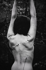 Blood... (dark.indigo) Tags: portrait people popular posing pretty pose back bokeh blood abstract surreal blackandwhite monochrome dark girl female femme topless forest nature women winter woods