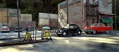 Demolished Building Parking Lot II (gpholtz) Tags: diorama miniatures 118 diecast vw beetle 1950 lincoln premier 1956
