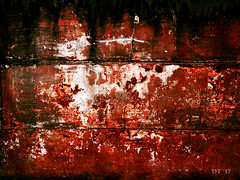 Plaster 52 (David Thibodeaux) Tags: abstractexpressionism abstractreality brutalism brutalistart deconstruction minimalism objetstrouves paintwithlight wabisabi zenandtheartofphotoshop color composition texture luminosity texturelib plaster red davidthibodeaux