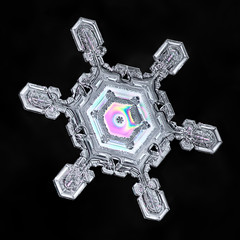 Snowflake-a-Day No. 13 (Don Komarechka) Tags: snowflake snow flake ice crystal nature macro winter fractal colour color thinfilminterference vivid symmetry balance science physics isolated blackbackground mpe reflectedlight