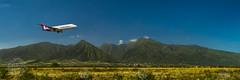 Welcome to Maui, Thank you for flying Hawaiian Airlines. (brandon.vincent) Tags: hawaiian airlines plane air airplane maui hawaii island hop west mountains kahului