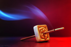 lavender incense (sure2talk) Tags: macromondays stick lavenderincense smoke burning red purple glow hmm nikond7000 lensbaby lensbabycomposerpro sweet50optic macro macroconverter 8mm lensbabylove