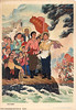 Cut through mountains to bring in water to irrigate new fields (chineseposters.net) Tags: china poster chinese propaganda 1975 woman waves irrigation flag strawhat pickaxe spade peasant