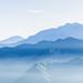 Hazy blue mountains of Zhushan, Alishan in Taiwan