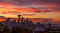 Seattle's Sunrise Fire! (deepaksviewfinder) Tags: ifttt 500px clouds washington seattle burn mt rainier emerald city golden hour kerry park fiery sky skyline sunrise