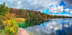 Lake (rgbshot72) Tags: autumn yellow sky landscape lake forest water reflection clouds bush blue october