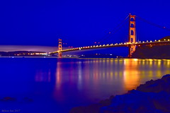 Golden Gate during Blue Hour (miltonsun) Tags: goldengatebridge bluehour pointcavallo sanfrancisco bridge longexposure dusk seascape bay ngc bayarea wave ocean shore seaside coast california northerncalifornia westcoast pacificocean landscape outdoor clouds sky water rocks rollinghills sea sand beach cliff evening nightphotography nightscene reflection