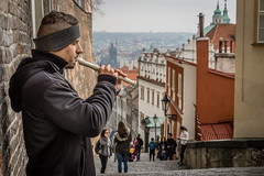 Fipple flute (mirri_inc) Tags: travel prague praha europe cityscapes man flute steps stairs castle praguecastle sightseeing mood autumn traveling sony sonya5100