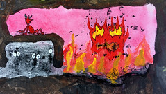 Detail 6 from the Larger Painting. (Weldon Alley) Tags: demon devil hell fire flames spooks paint painting comic