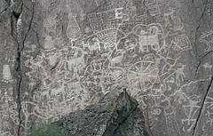 Petroglyphs / Fremont Indian State Park (Ron Wolf) Tags: anthropology archaeology fremont fremontindianstatepark nativeamerican abstract anthromorph anthropomorph barbell basket bighornsheep circle digitated dots footprint meanderingline nestedcurves panel petroglyph rockart spiral spokedcircle superimposition vandalism zoomorph utah