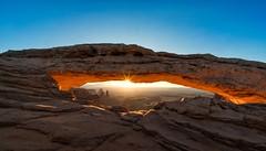 Mesa arch sunrise (reinaroundtheglobe) Tags: delicatearch canyonlandsnationalpark naturalarch sunrise landscape nature beautyinnature nopeople sun sunsparks sunstar bluesky clearsky rockobject rockformation utah usa nationalpark
