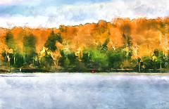 Bras d'Or - Arm of Gold (sbox) Tags: baddeck novascotia capebreton fall autum lake watercolour watercolor digitalwatercolor textures painterly declanod sbox landscape