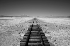 Salt Train Tracks (PHOTOGRAFIEBER) Tags: southamerica südamerika backpacking bolivia peru chile adventure uyuni3daysjeeptour uyuni green red laguna lagoon colorada verde salvador dali flamingos landscape salt flat desert mountains incahuasi licancabur schwarz weis bw black white