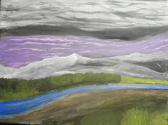 Scratch (Three Way Art) Tags: purple painting acrylic black white blue green sky twa mountain