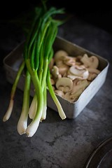 spring onion and mushroom (lei_auckland) Tags: food foodphotography cooking recipes chickenandmushroomstirfry mushroom chicken