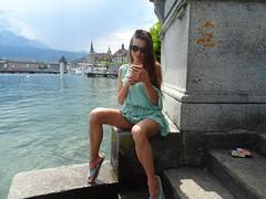 The deep blue of Lake of Lucerne (faberlatusm - 250'000'000 views) Tags: spread sexy bottomless flashinpublic publicupskirt pussy pantieless sun sunglasses sightseeing sensual teasing beauty elegance fun tourism switzerland lucerne lake steps shortskirt