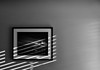 Wall Art? (Go placidly amidst the noise and haste...) Tags: wallart mono blackandwhite blackwhite shadow picture frame framed wall blind venetianblind silverefex