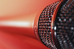 Microphone macro (alutik) Tags: macromondays stonerhymingzone microphone macro closeup bright vibrant color colors bokeh red orange againstbrightbackground canon 70d efs1855mmf3556iii
