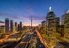 Toronto Sunset (HisPhotographs.com) Tags: sunset toronto cntower city downtown ontario canada colorful unionstation train longexposure colors buildings architecture aircanadacenter acc clouds lights motion cars traffic 5dsr 1124mm