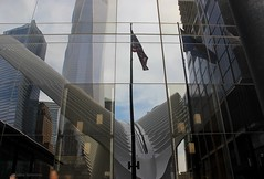 reflections (galsafrafoto) Tags: nyc newyork manhattan worldtradecenter reflections flag buildings architecture city