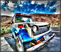 greatest snow on earth.... (Baja Juan) Tags: hss happy sunday sliders hdr format hypr color toyota land cruiser retro antique classic utah national parks license plate clouds blue skies rocky mountains baja
