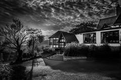 Webbington Hotel, UK (miroslav.tokarsky) Tags: pentax pentaxart bestshotoftheday blackwhite bw magic magicmoment mood moody halloween clouds cloudporn dramatic sky skies drama landscape architecture building hotel old tree beautiful