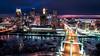 Minneapolis - Night Skyline (Gian Lorenzo) Tags: minneapolis minnesota unitedstates us night aerial drone city life street urban bridge hennepin ice winter twincities