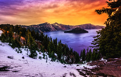 Twilight on Crater Lake (Bartfett) Tags: crater lake national park oregon winter snow trees forest sunset twilight orange sky water deepest freshwater wizard island